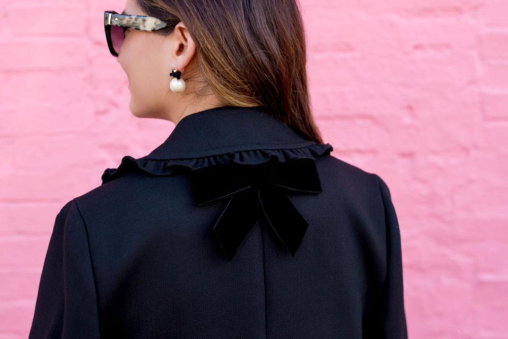 Black Ruffle Velvet Trim Jacket