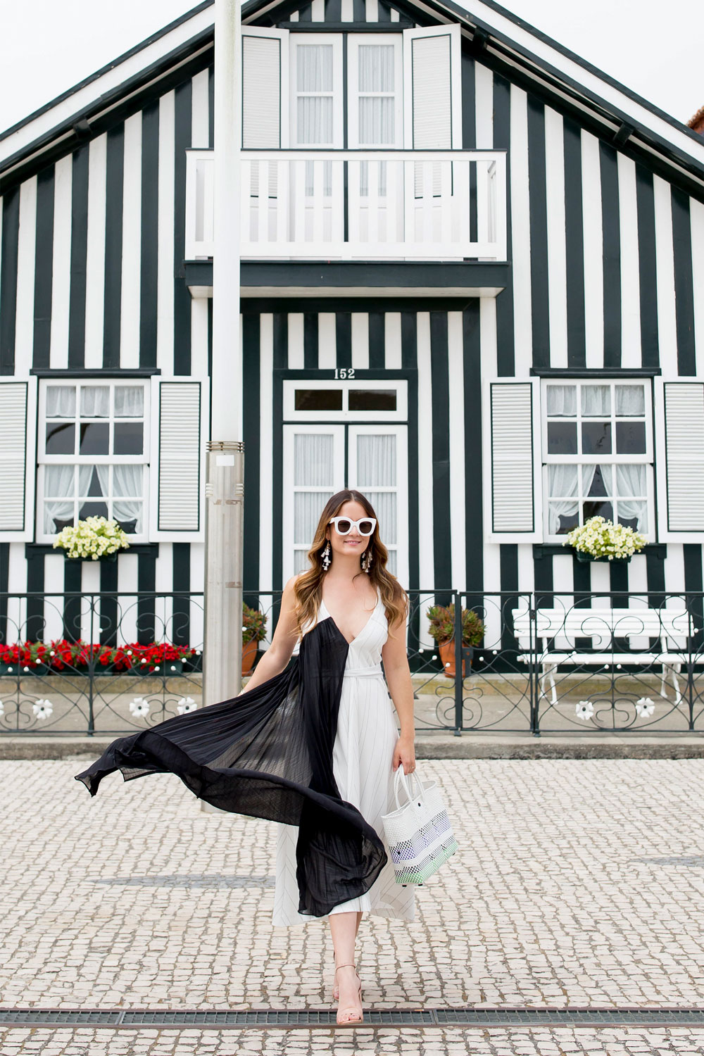 Black White Midi Dress