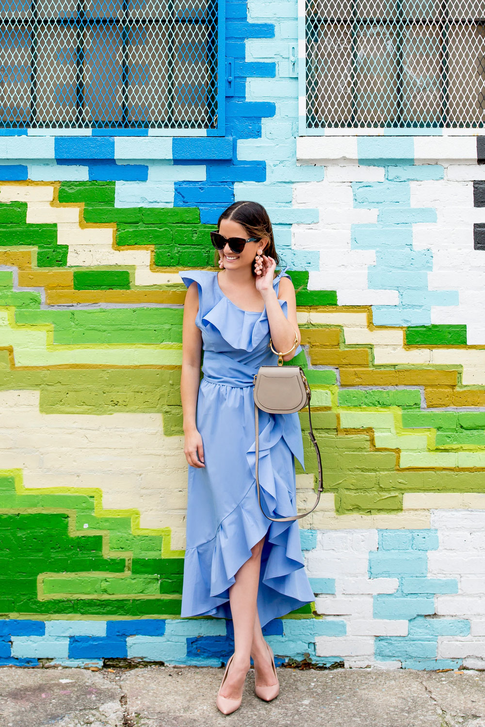 Blue Ruffle Trim Midi Dress