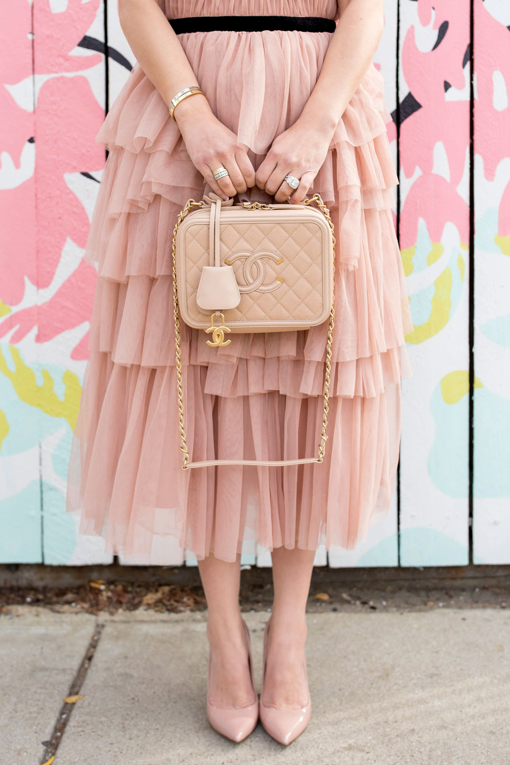 Blush Tulle Ruffle Midi Dress And Chanel Filigree Vanity