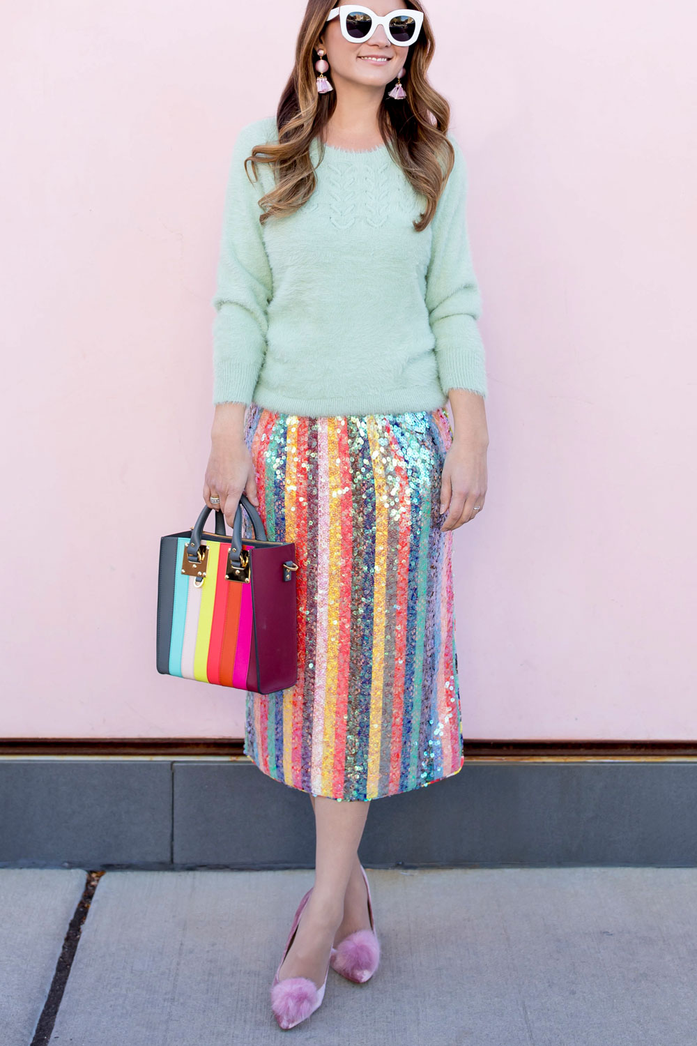 Colorful Sequin Midi Skirt