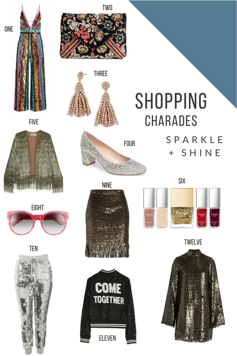 shopping charades sequins