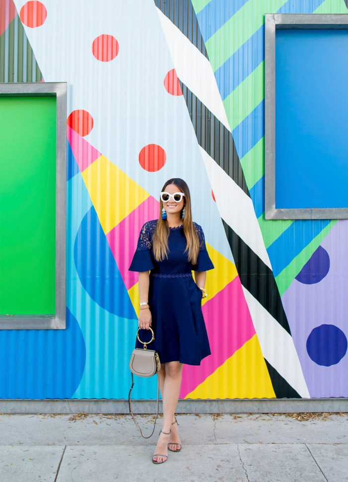 Draper James Navy Fit and Flare Dress | Los Angeles, CA