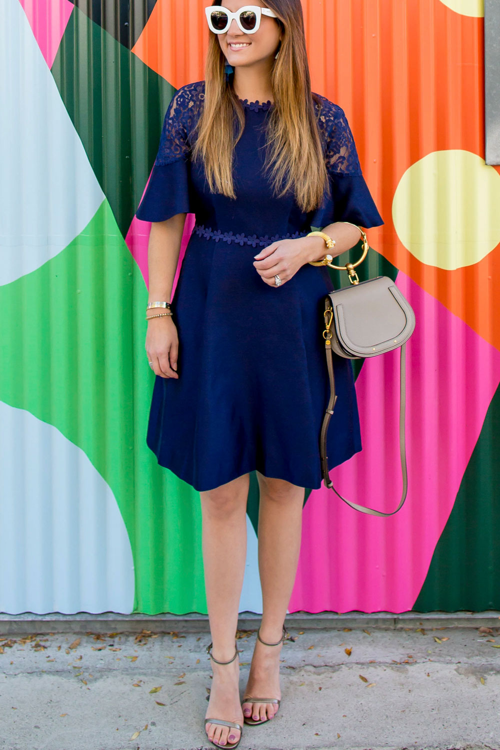 Draper James Navy Fit And Flare Dress Los Angeles Ca