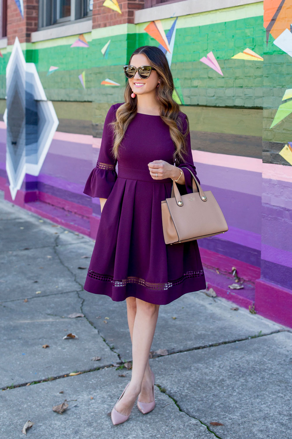 Eliza J Burgundy Bell Sleeve Fit and Flare Dress