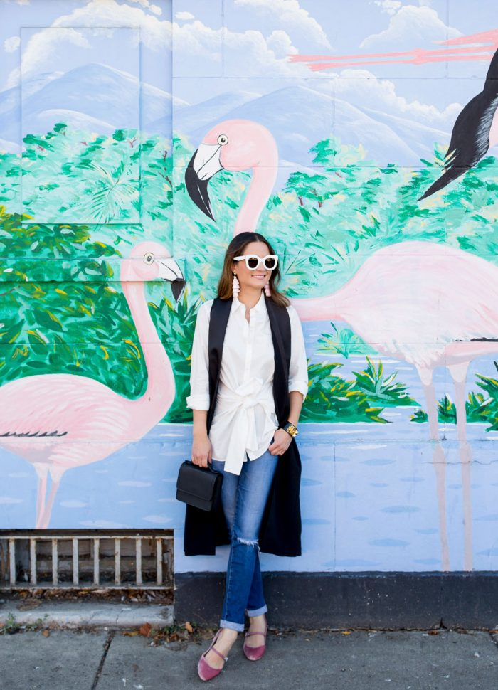 Styling a Long Black Vest | Chicago Flamingo Mural