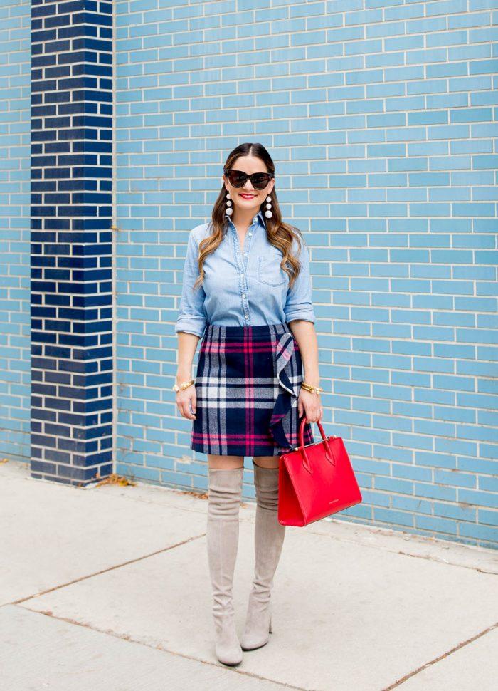 Navy Plaid Wool Ruffle Mini Skirt