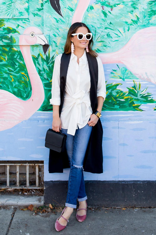 Jennifer Lake Long Black Tuxedo Vest