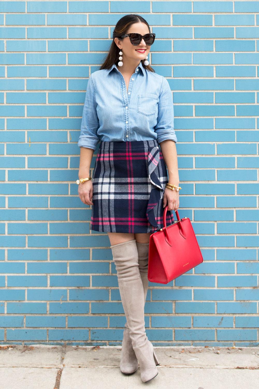 Jennifer Lake Plaid Mini Skirt