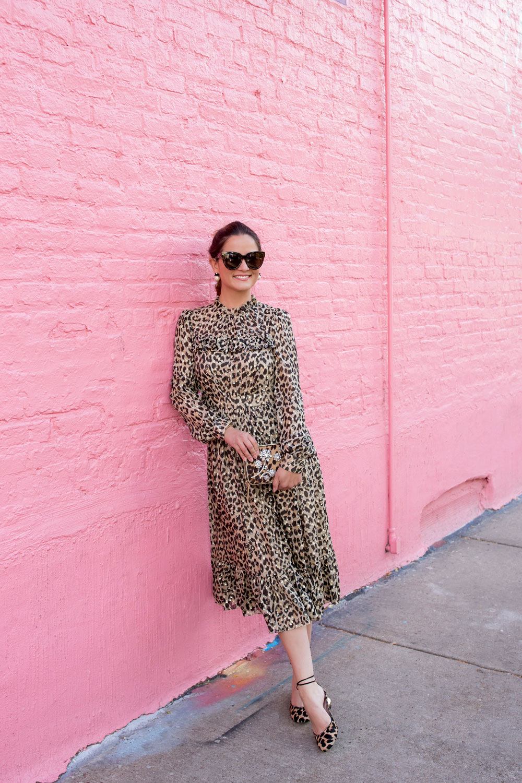 Kate Spade Leopard Print Clipped Dot Midi Dress