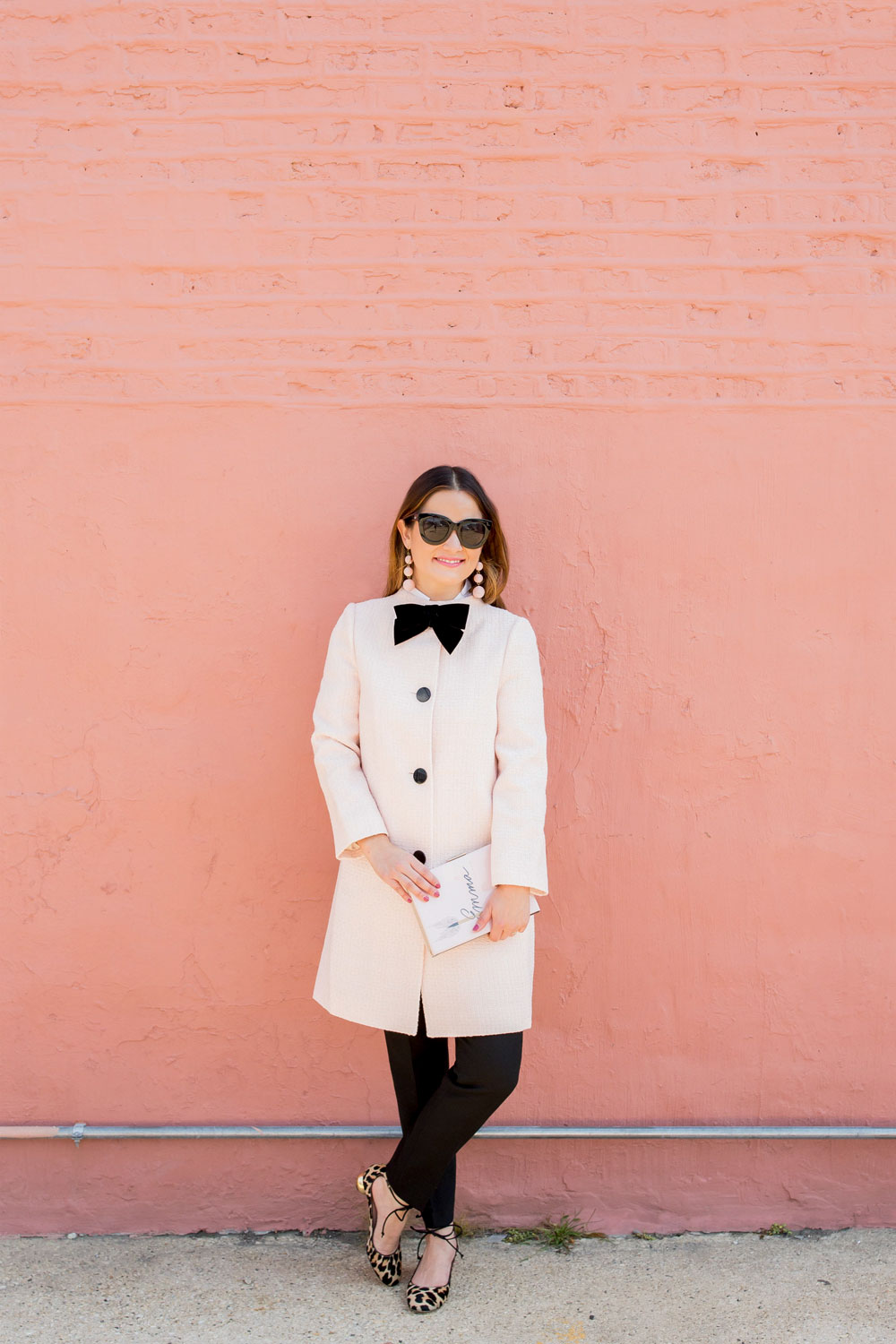 Kate Spade New York Pink Bow Tweed Coat