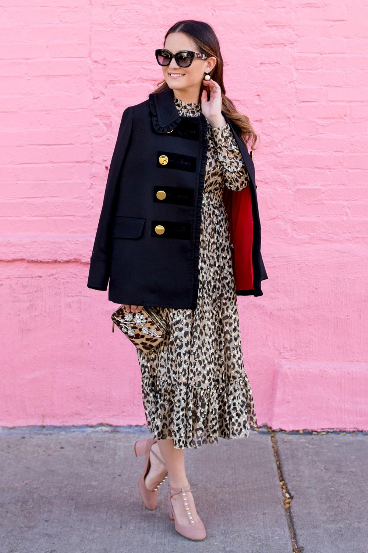 Leopard Ruffle Midi Dress