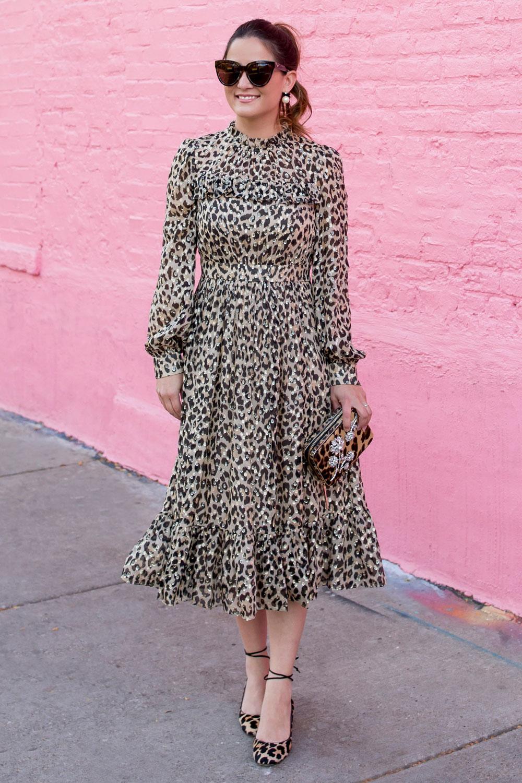 Long Sleeve Leopard Midi Dress