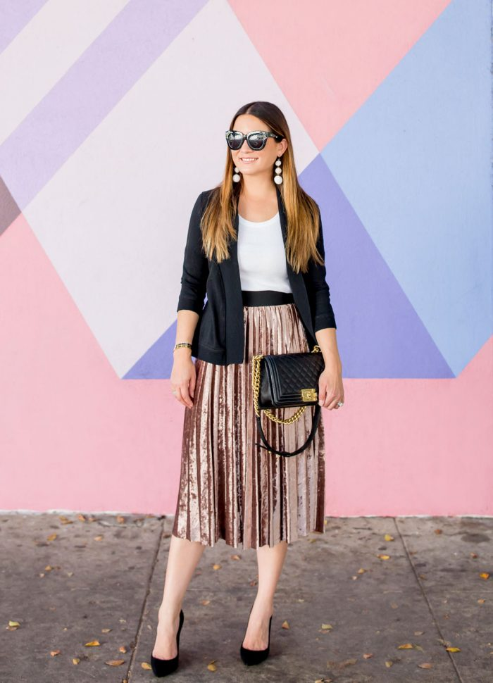 Metallic Velvet Pleated Skirt // Friday Charades