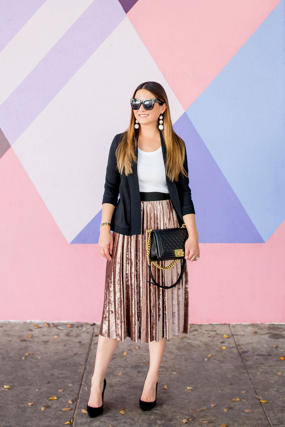 Metallic Velvet Pleated Skirt