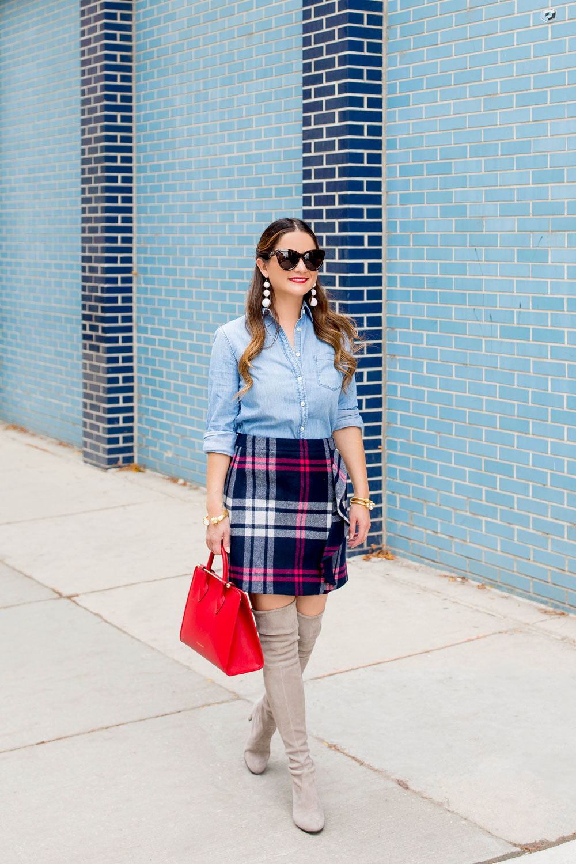 Navy Plaid Wool Mini Skirt