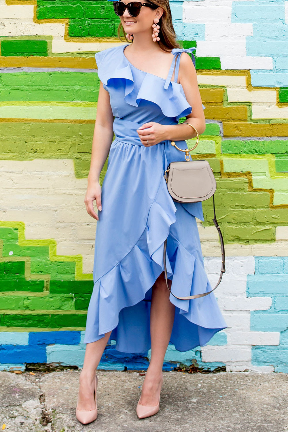 One Shoulder Blue Ruffle Dress
