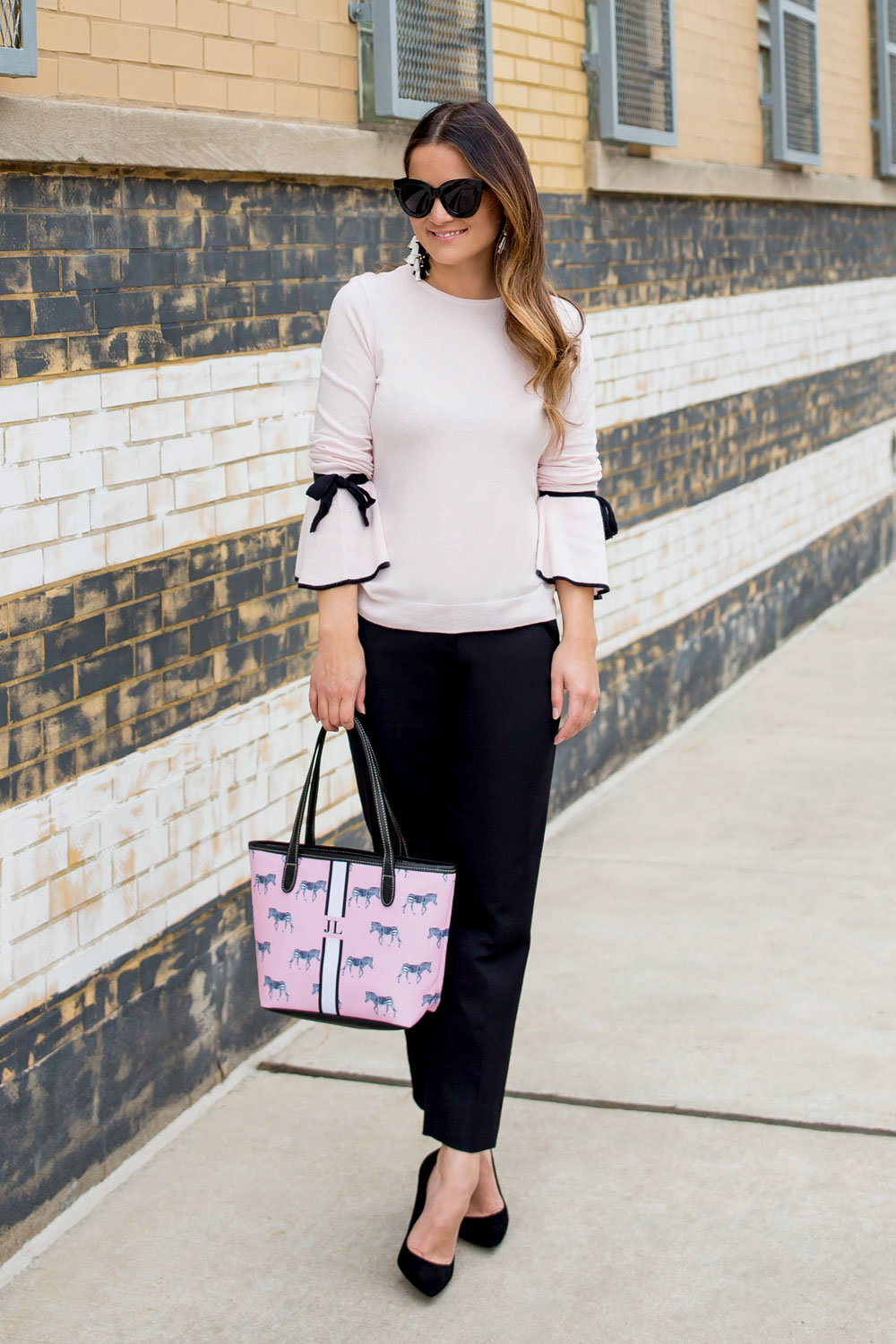 Pink Black Bow Sleeve Sweater