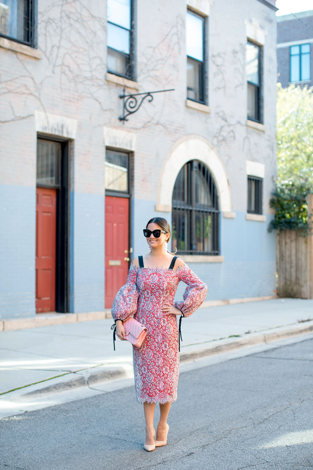 Pink Lace Balloon Sleeve Midi Dress