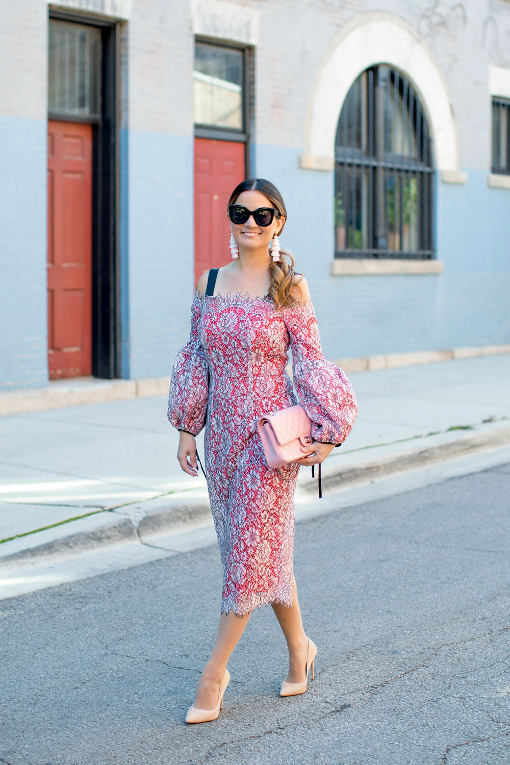Pink Lace Sheath Midi Dress