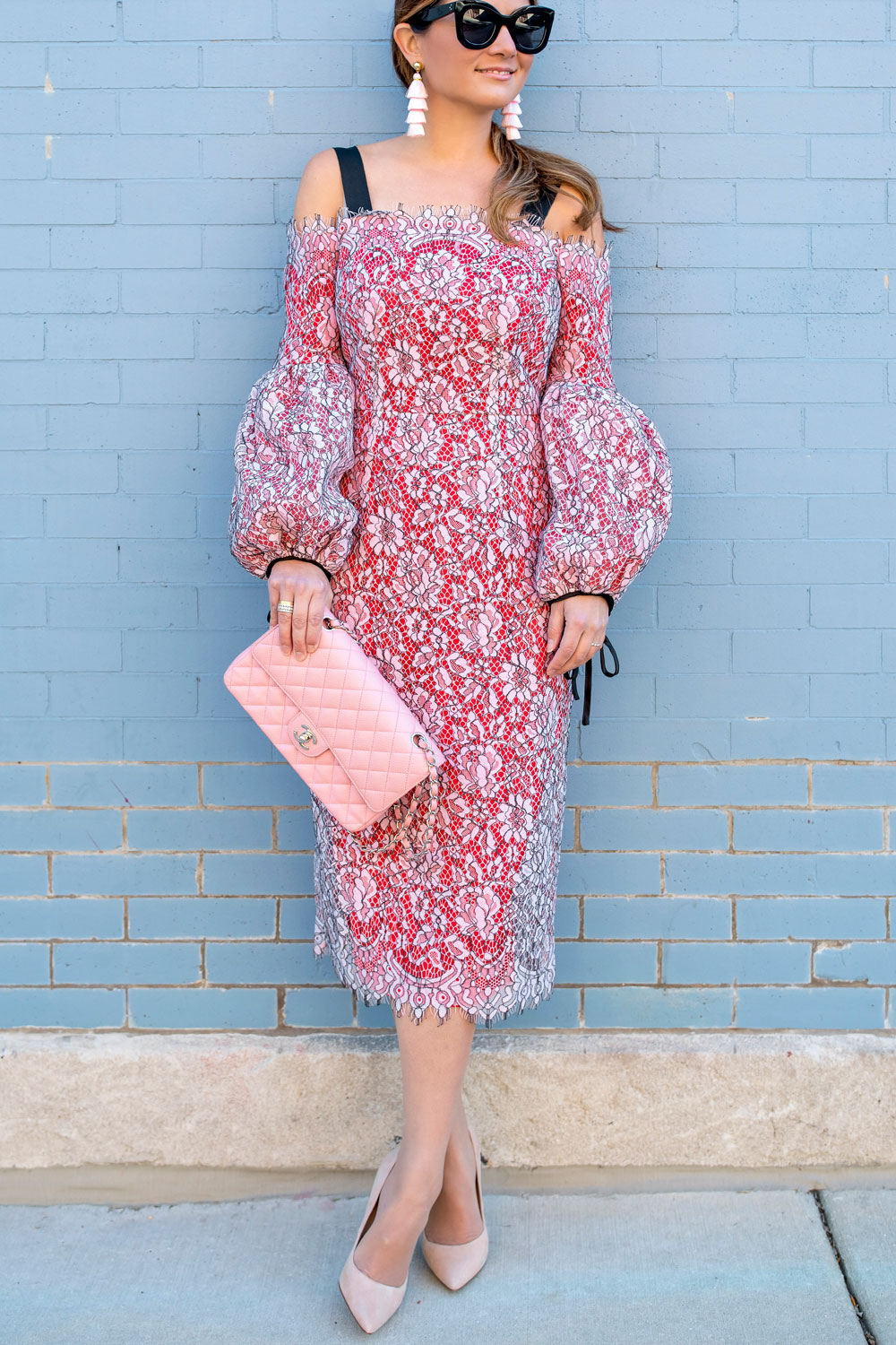 Pink Lace Statement Sleeve Dress