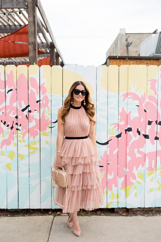 Blush Tulle Ruffle Midi Dress