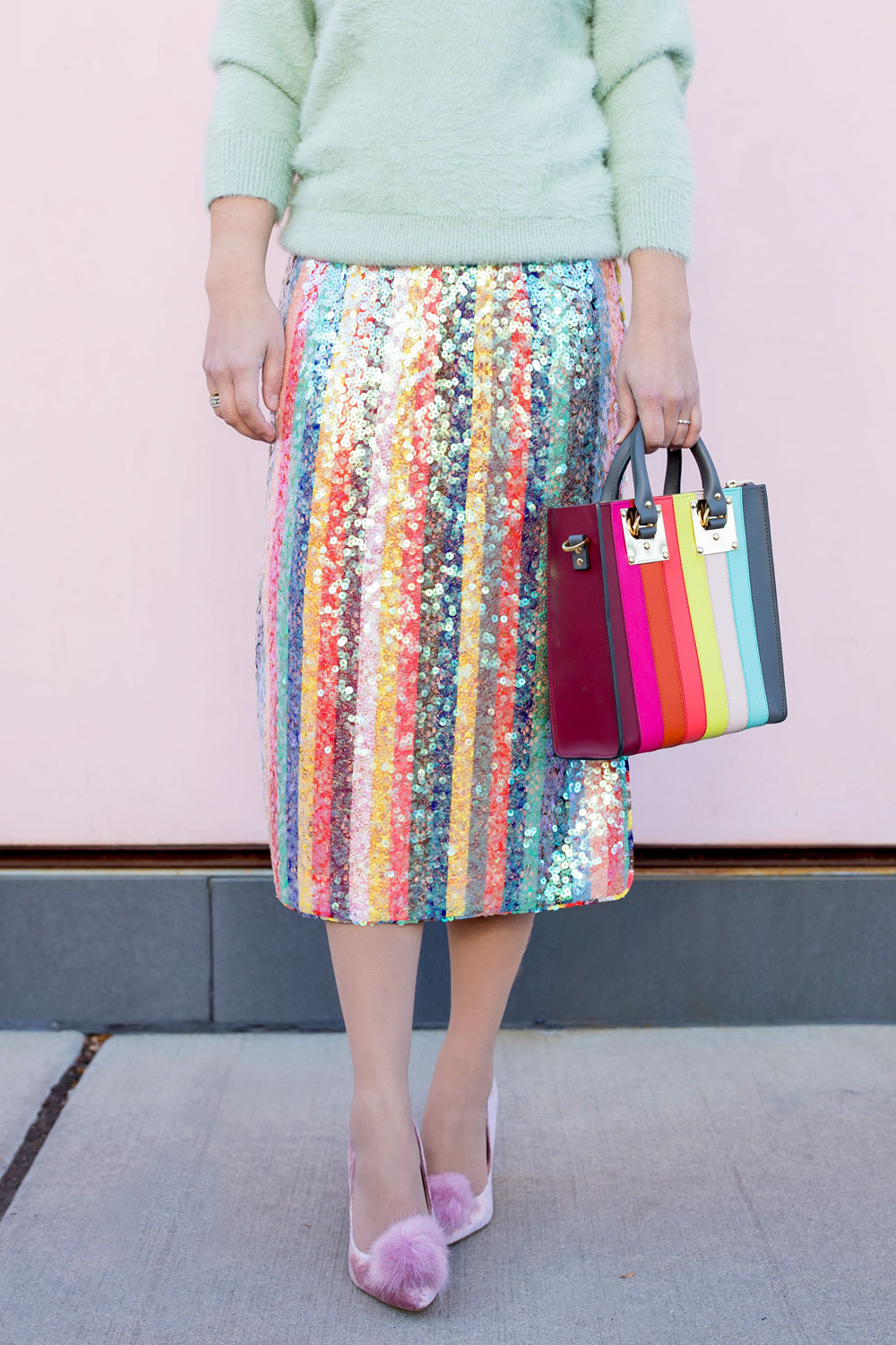 Sequin Multicolor Stripe Skirt
