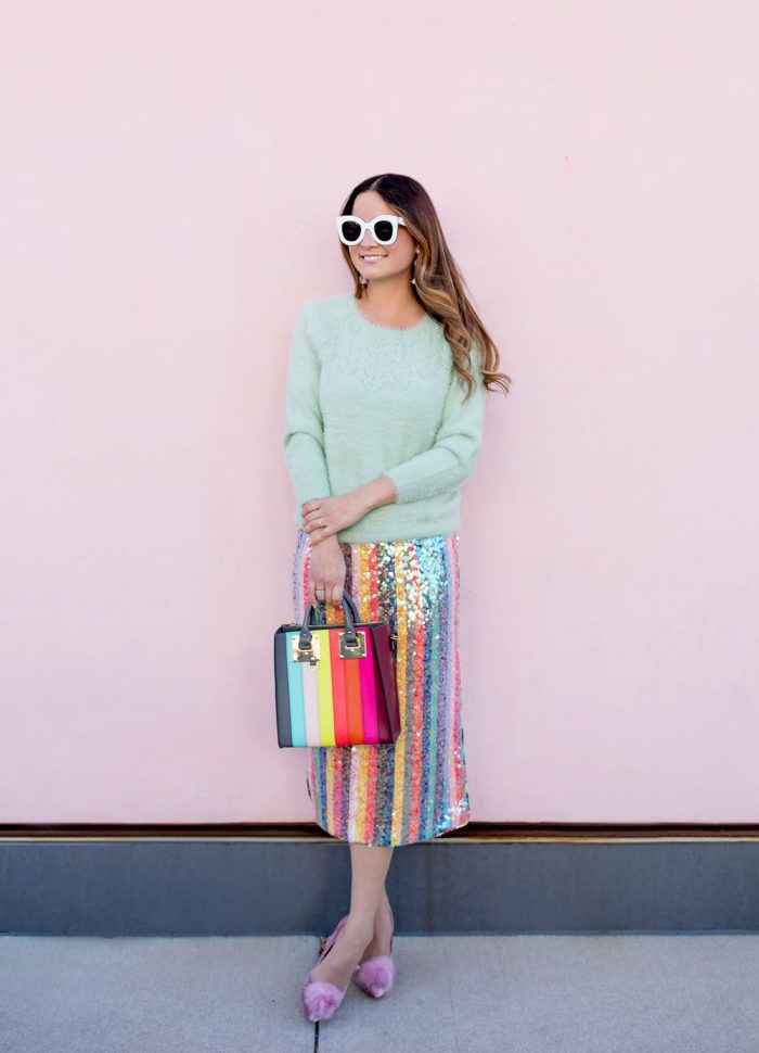 Sequin Multicolor Stripe Skirt and Cozy Mint Sweater