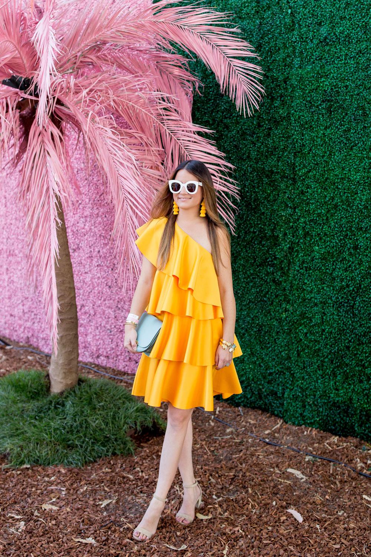 Solace London Yellow Ruffle Dress