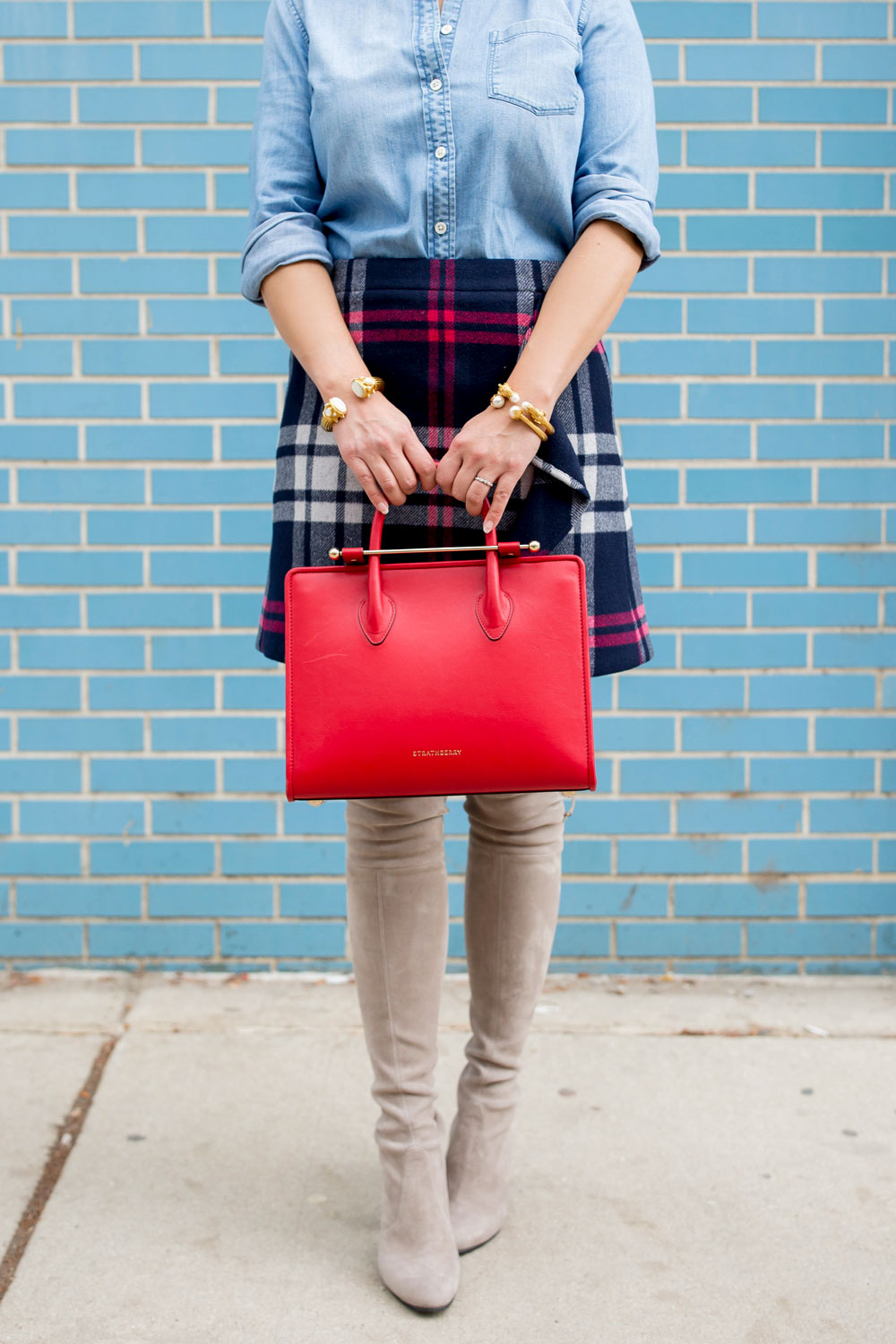 Strathberry Red Midi Tote