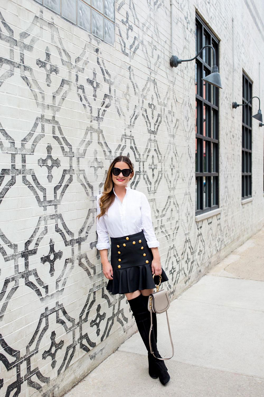 Veronica Beard Gold Button Skirt