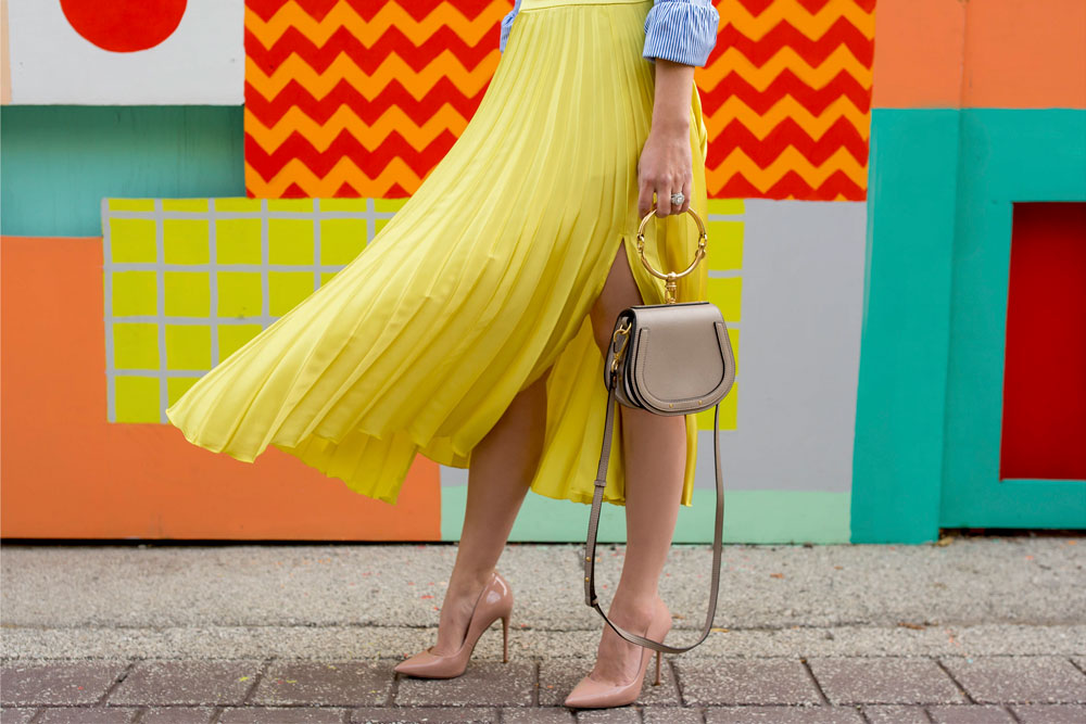 Yellow Pleated Satin Skirt