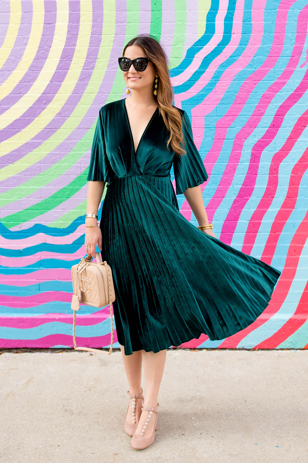 ASOS Green Velvet Pleated Fit and Flare Midi Dress