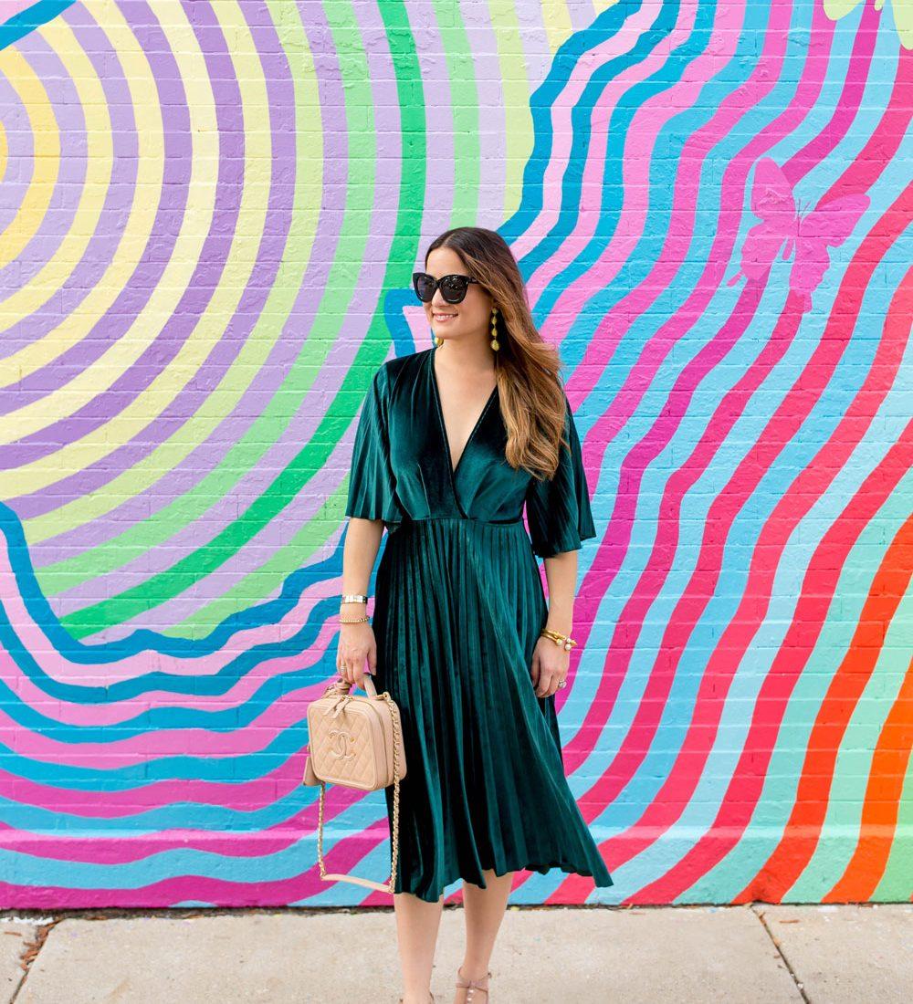 ASOS Velvet Pleated Dress