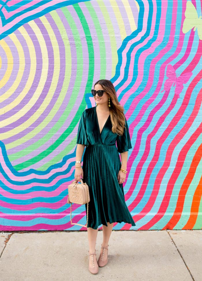 Green Velvet Pleated Fit and Flare Midi Dress
