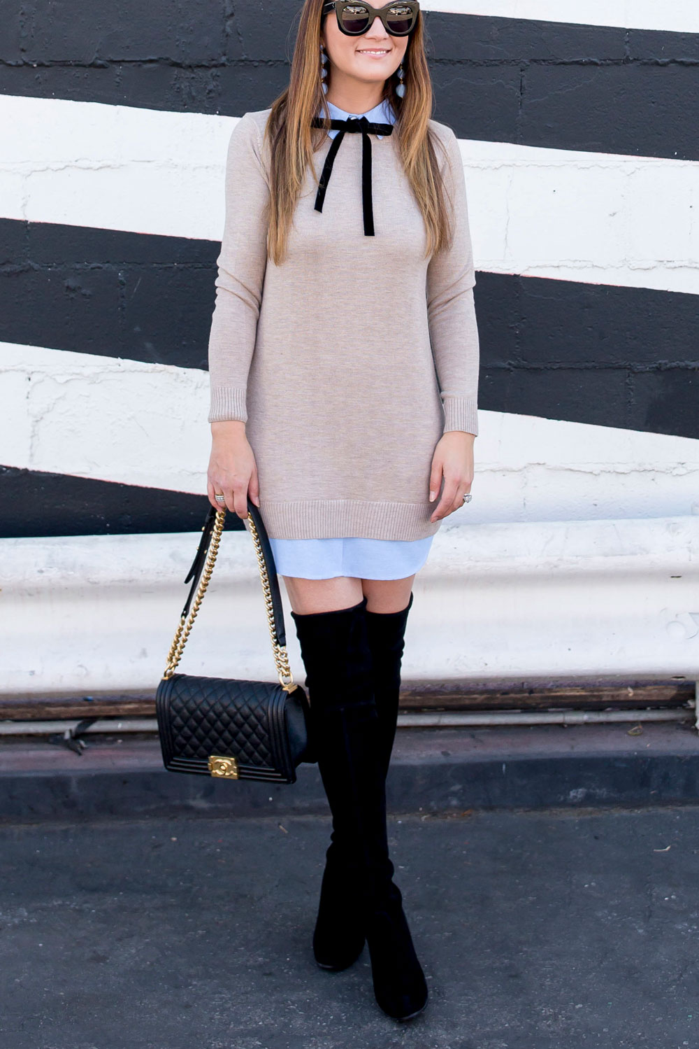 Beige Sweater Shirt Dress