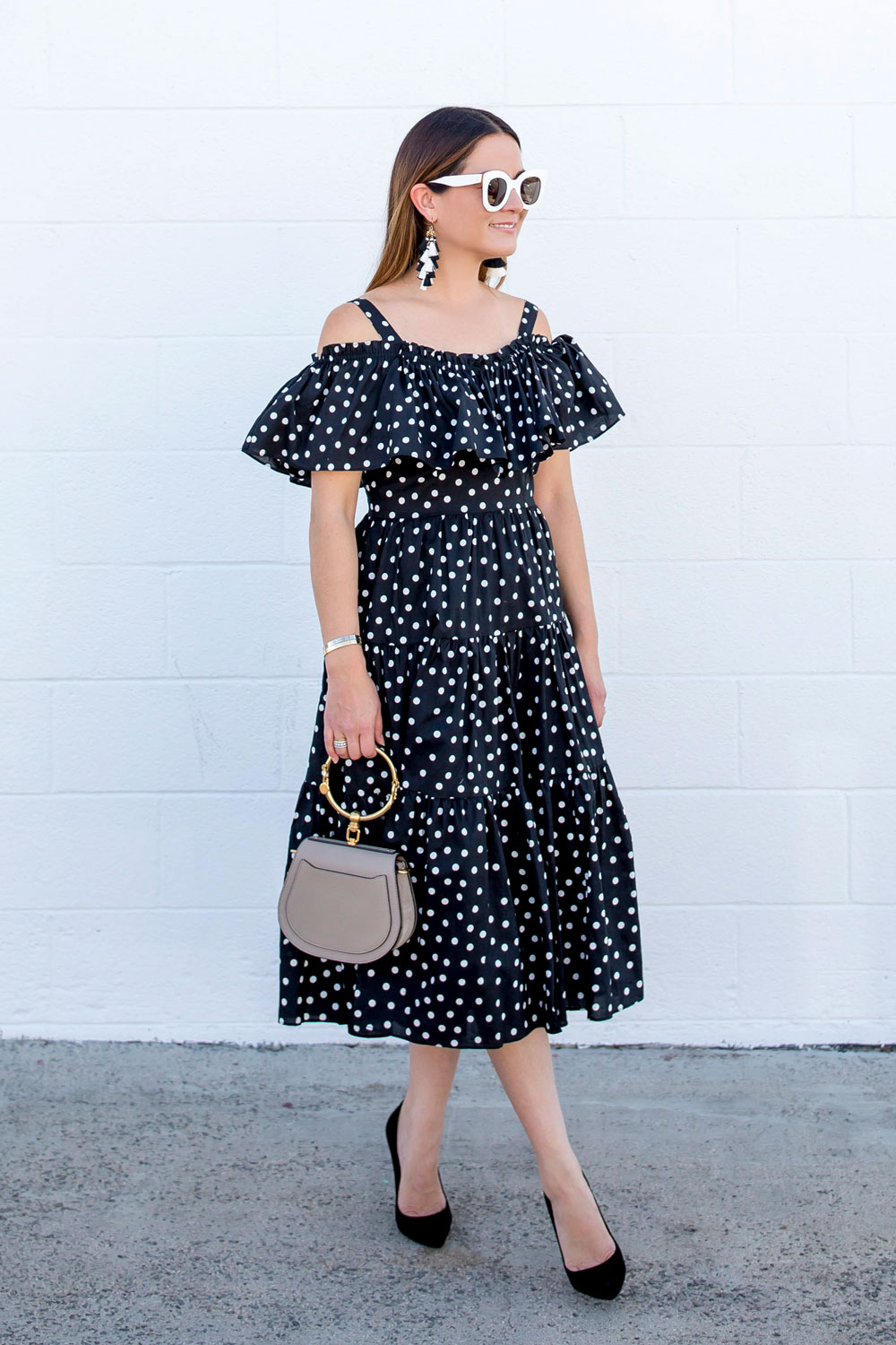 Black And White Polka Dot Midi Dress Los Angeles Ca