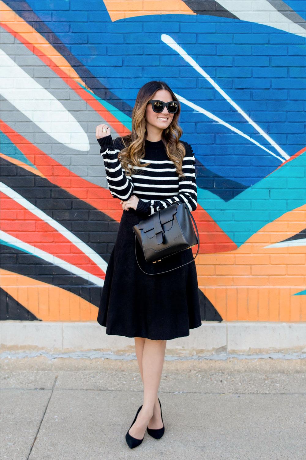 Black White Stripe Sweater Dress