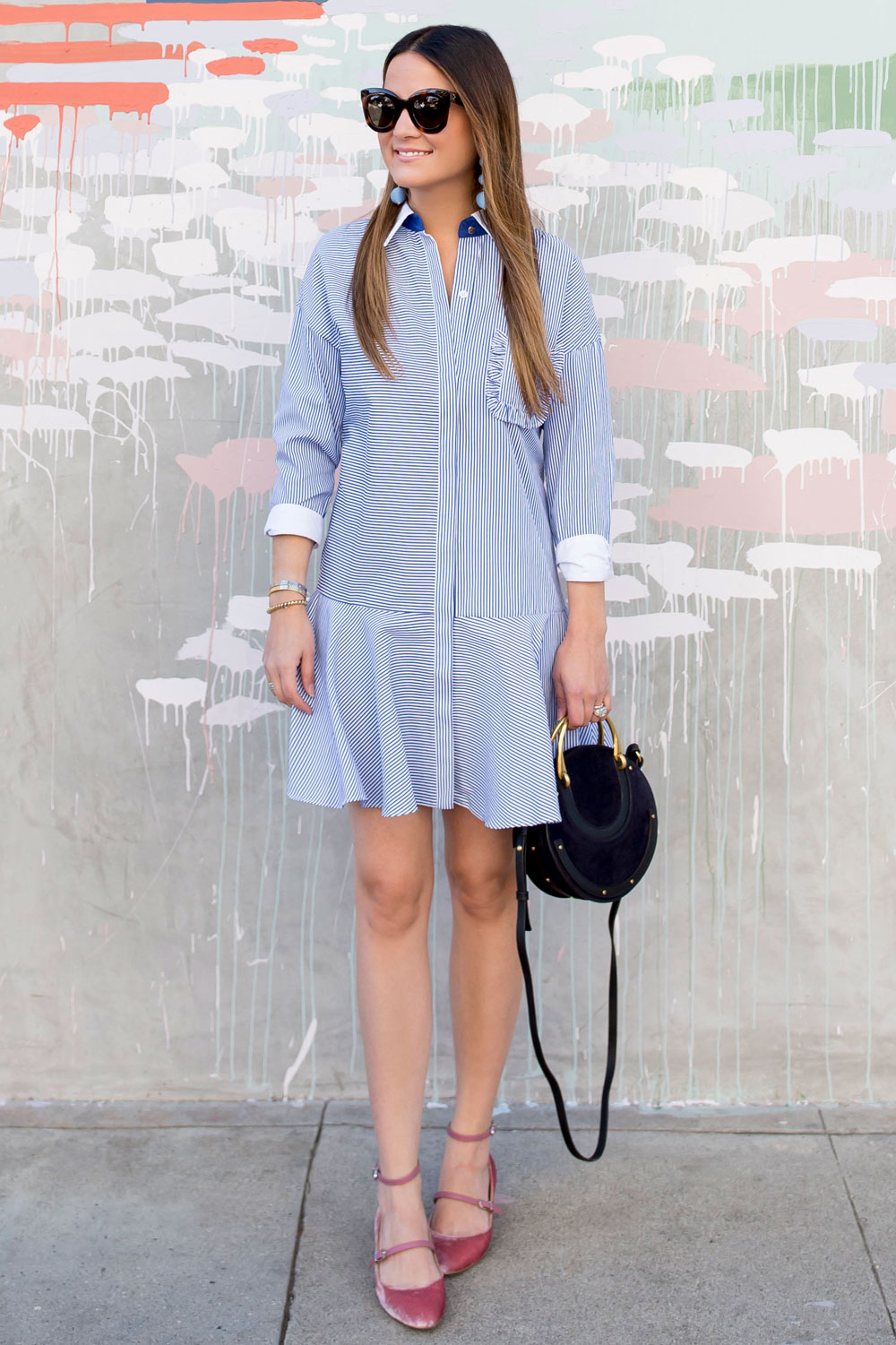 Blue Stripe Drop Waist Shirtdress