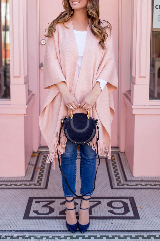 Chloe Pixie Navy Suede Bag