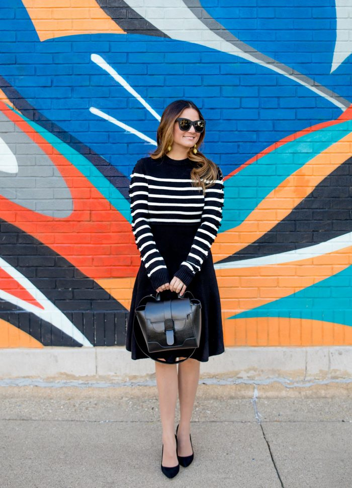 Stripe Fit and Flare Sweater Dress at a Colorful Chicago Mural