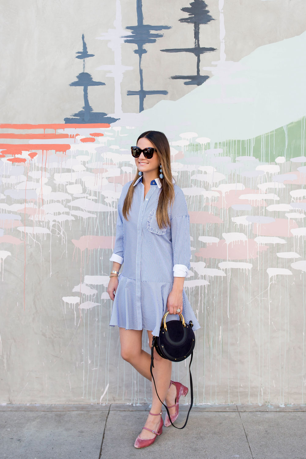 English Factory Blue Shirtdress