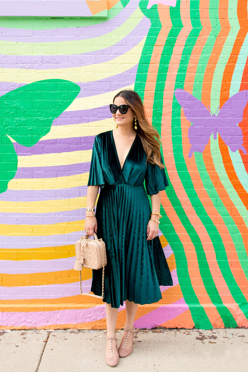 Green Velvet Pleated Wrap Dress