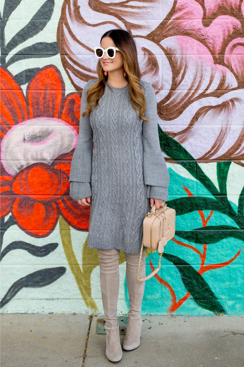 Grey Ruffle Sleeve Sweater Dress