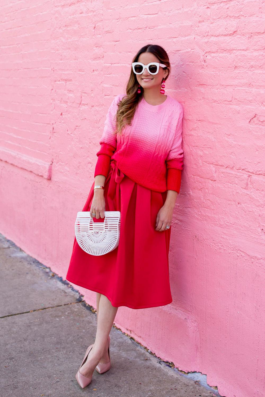 Jennifer Lake Red Pink Outfit