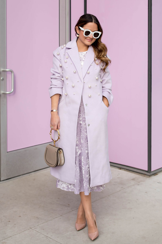 Lilac Pearl Embellished Coat