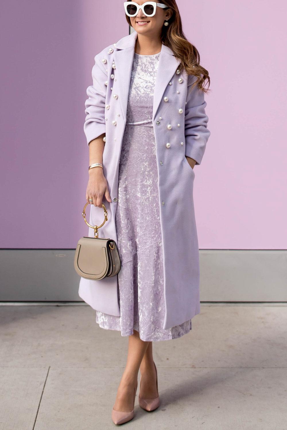 Pearl Embellished Lilac Coat And Velvet Midi Dress