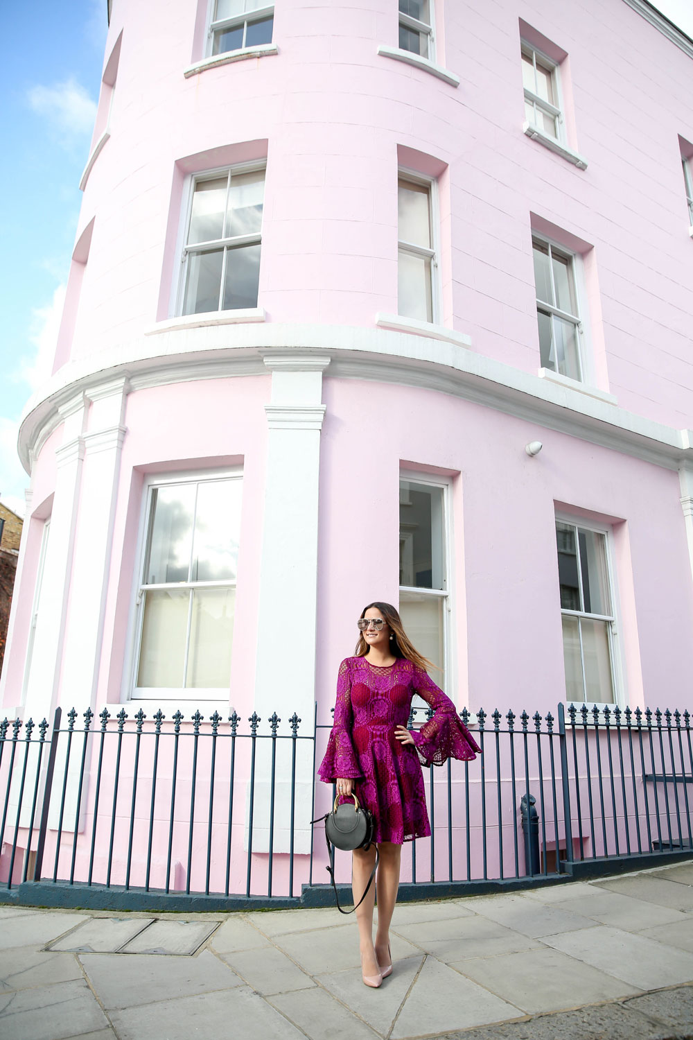 London Notting Hill Pink Curved Building
