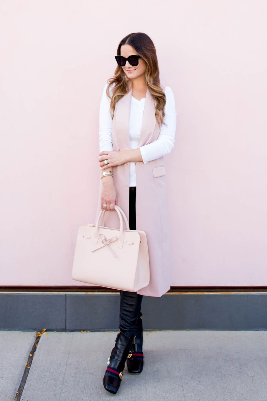 Long Pink Tuxedo Vest