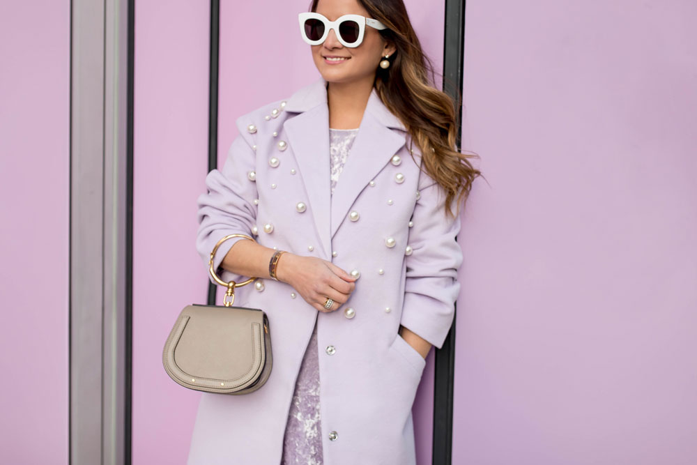 Pearl Embellished Lilac Coat